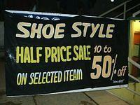 Shoe sale banner at Marthahalli