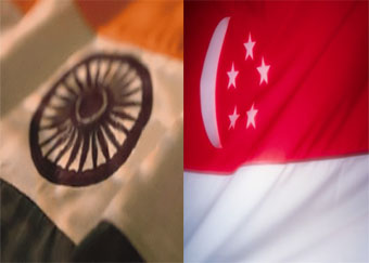 India And Singapore Flags