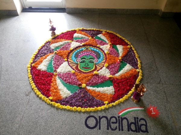 Oneindia Onam 2013 Rangoli - outstanding with flowers