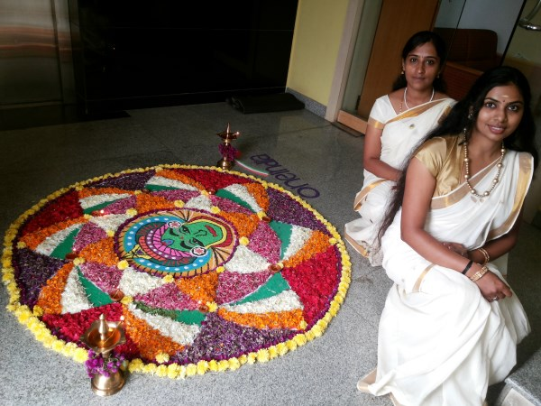 Oneindia Onam 2013 Rangoli - wonderful work girls!