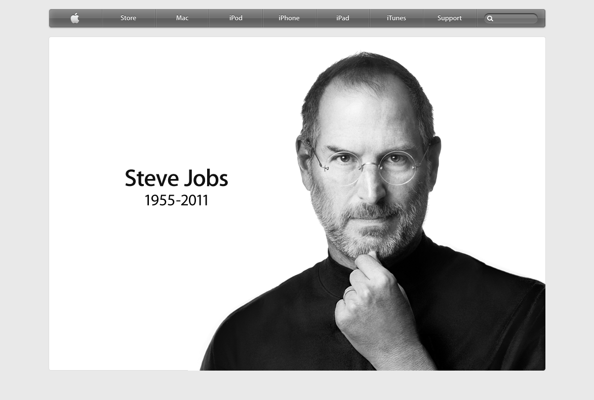 Apple's Homepage on Steve Job's Demise