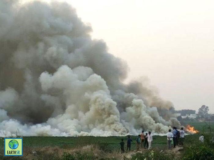 Bellandur Lake in Bengaluru on fire.