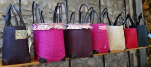 Color bags in Antibes market in France