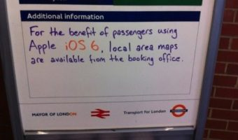 iOS 6 hits London subway, printed maps given to users