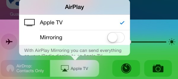 Airplay Mirroring button on iPad Mini with iOS8