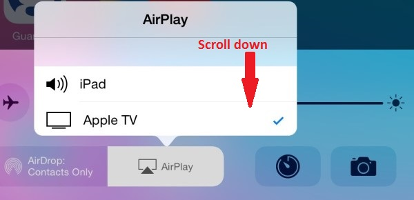 Airplay screen on iPad Mini with iOS8