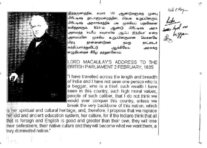 Lord Macaulay address in 1835