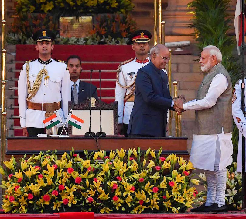 May 30, 2019: Prime Minister Narendra Modi greets President Kovind after taking oath to office in New Delhi