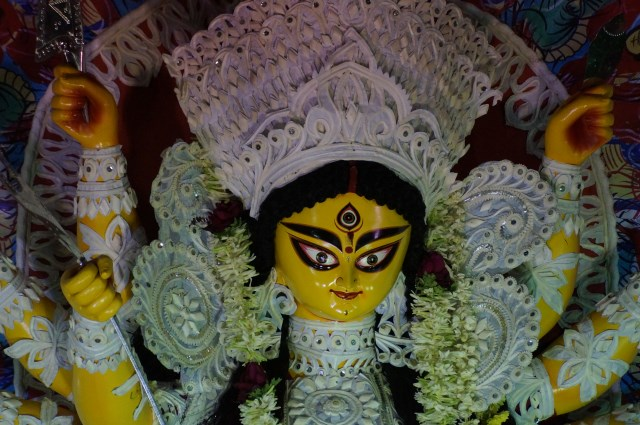 Durga idol at one of the Durga puja pandals in Bangalore
