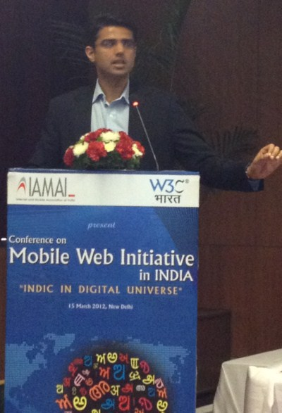 Sachin Pilot at Indic on Mobile Web Conference in New Delhi