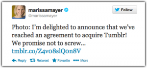 Yahoo CEO tweet after Tumblr acquisition