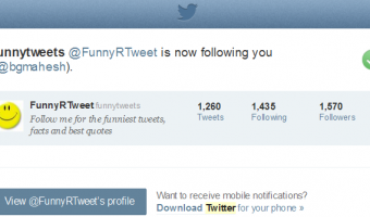 Twitter new follower notification